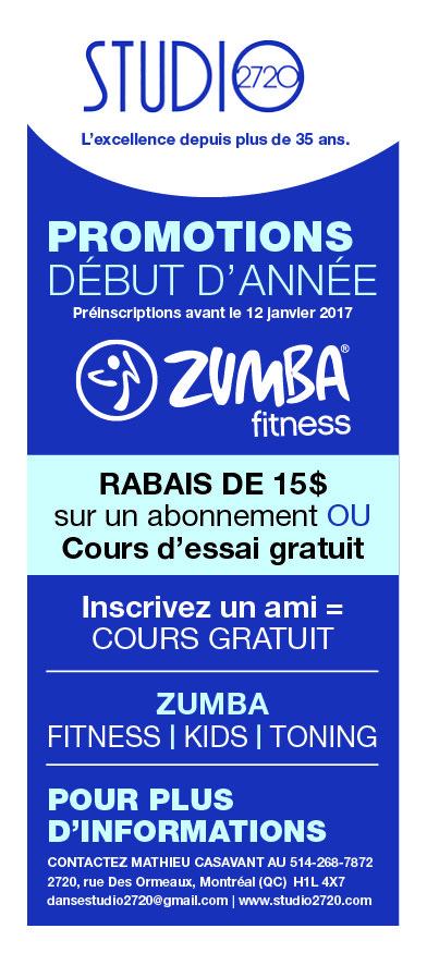 Promotions zumba Montréal - Studio2720