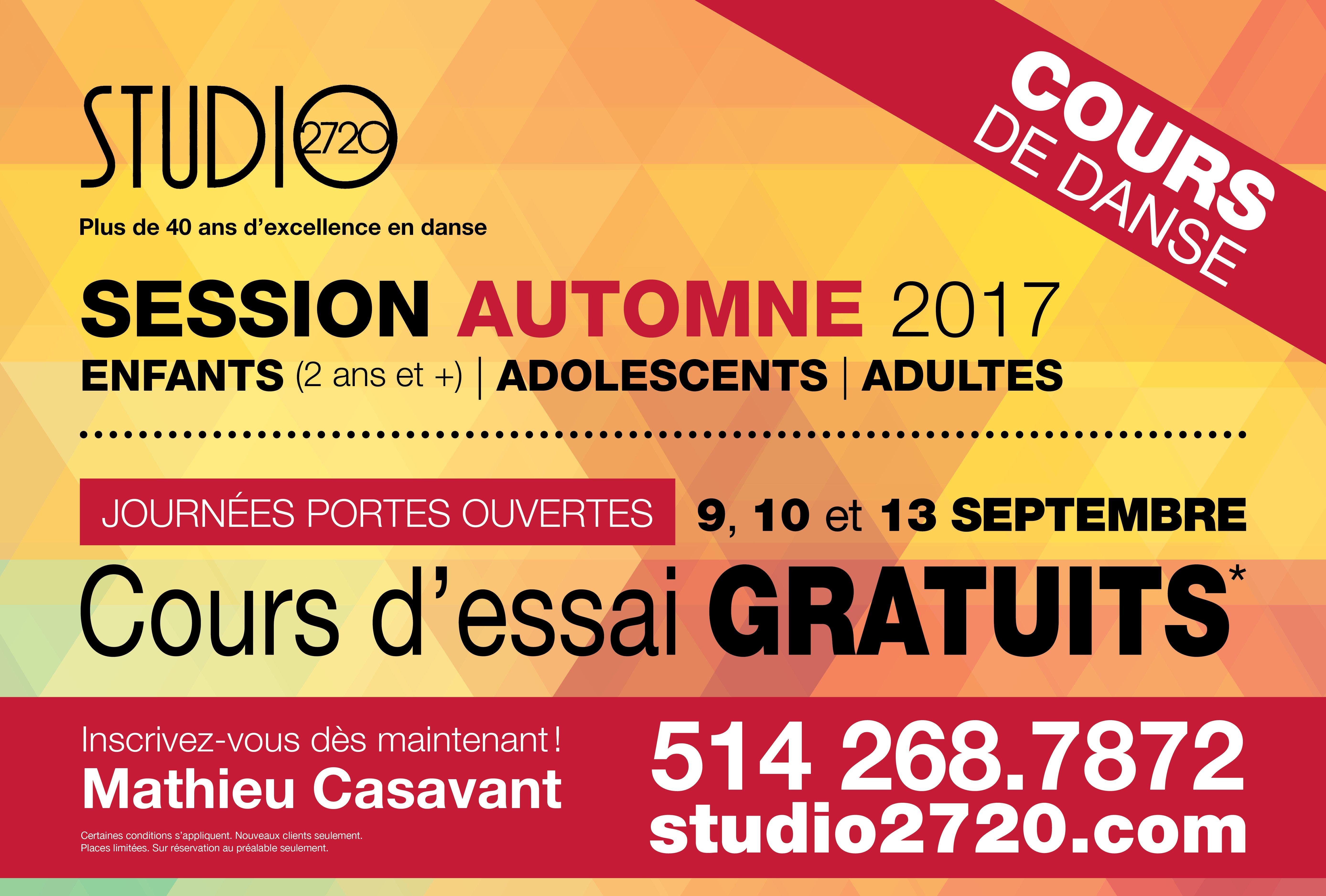Cours d'essai gratuits automne 2017 - Studio2720