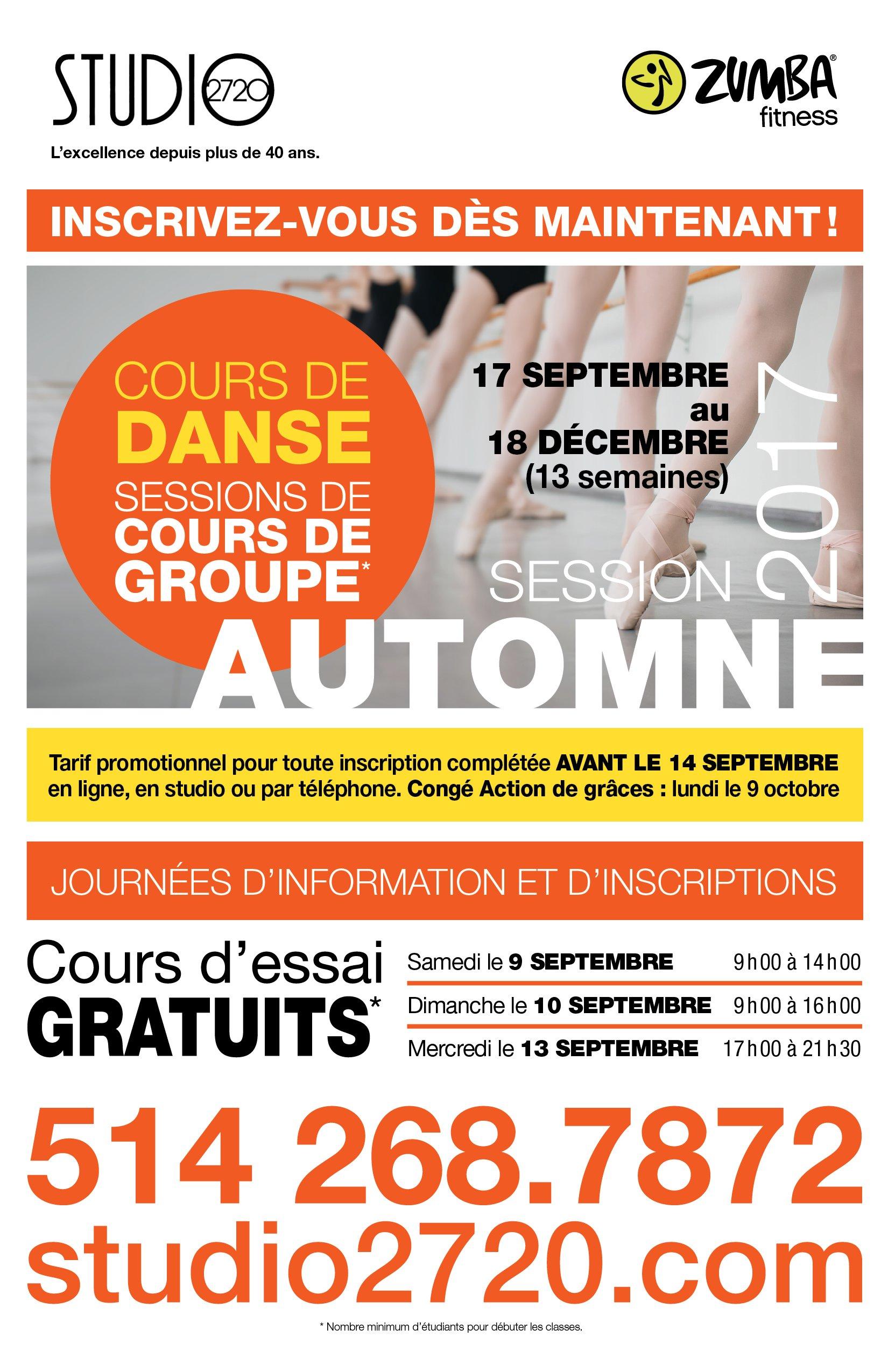 Cours de danse et de zumba automne 2017 Montréal - Studio2720